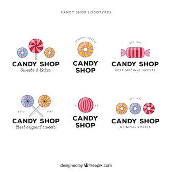 Candy shop emblemen verzameling voor bedrijven