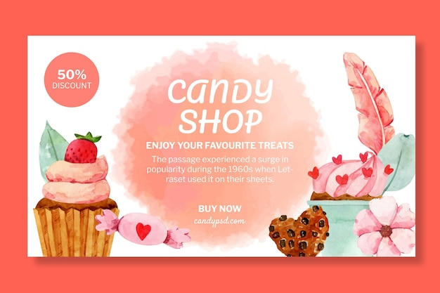 Candy shop horizontale banner sjabloon