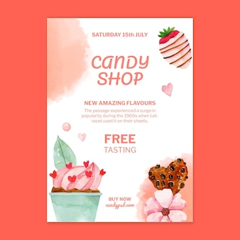 Candy shop verticale poster sjabloon