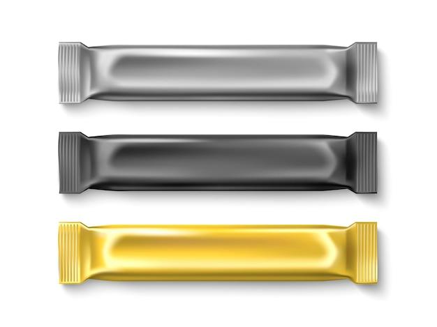 Candy stick verpakking. suikerproducten folieverpakkingen, gouden, zilveren, zwarte product, realistische lege zoete repen metalen mockup. vector set