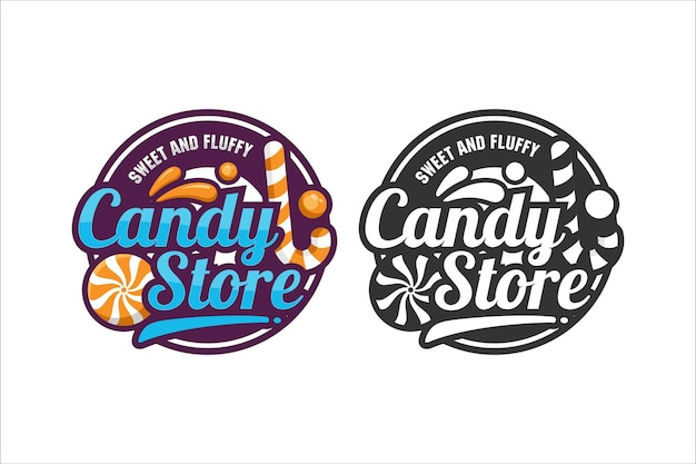 Candy store vector ontwerp logo
