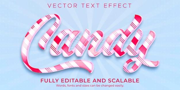 Candy sugar-teksteffect, bewerkbare tekststijl voor zoet en eten