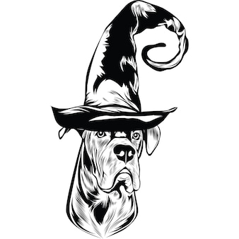 Cane corso hond in heksenhoed voor halloween