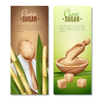 Cane sugar banners set