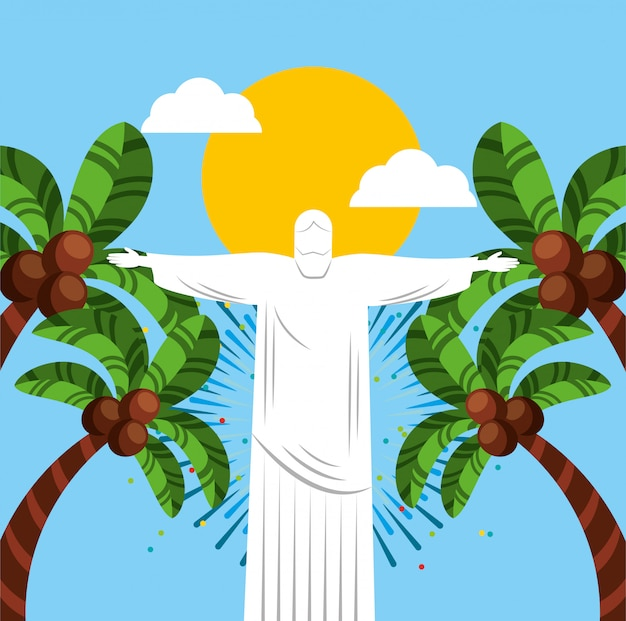 Canival van de braziliaanse viering van rio met corcovade christusillustratie