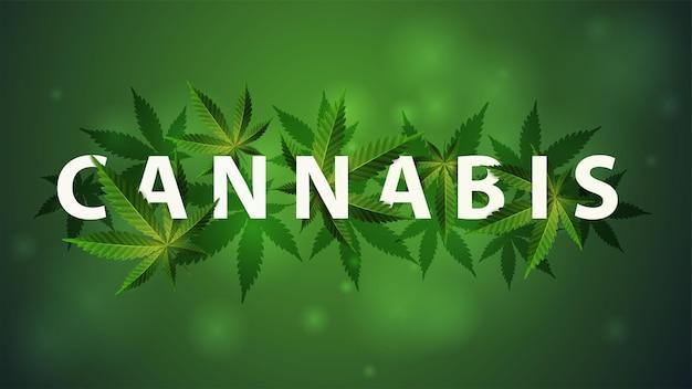 Cannabis 3d-titel versierd met cannabisbladeren