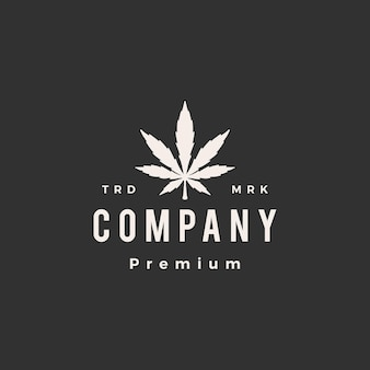 Cannabis blad hipster vintage logo pictogram illustratie