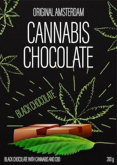 Cannabis chocolade, zwart pakketontwerp met chocoladereep van cannabis en marihuana bladeren in doodle stijl op achtergrond.