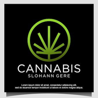 Cannabis ganja voor cbd-logo-ontwerp