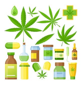 Cannabis geneeskunde cartoon medische marihuana set met glazen fles hennepolie, cannabisextracten