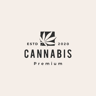Cannabis hipster vintage logo pictogram illustratie