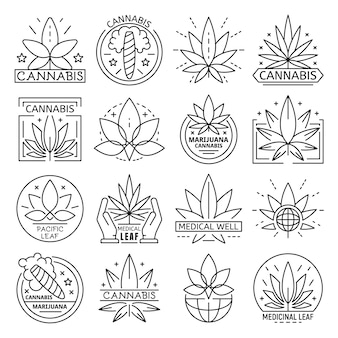 Cannabis icon set. overzicht set van cannabis vector pictogram