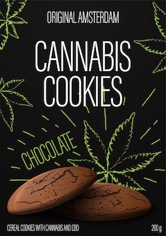 Cannabis koekjes, zwart pakketontwerp met cannabiskoekjes en marihuana bladeren in doodle stijl op achtergrond