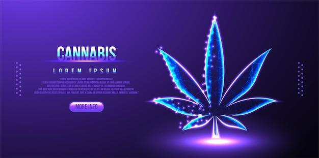Cannabis laag poly draadframe mesh