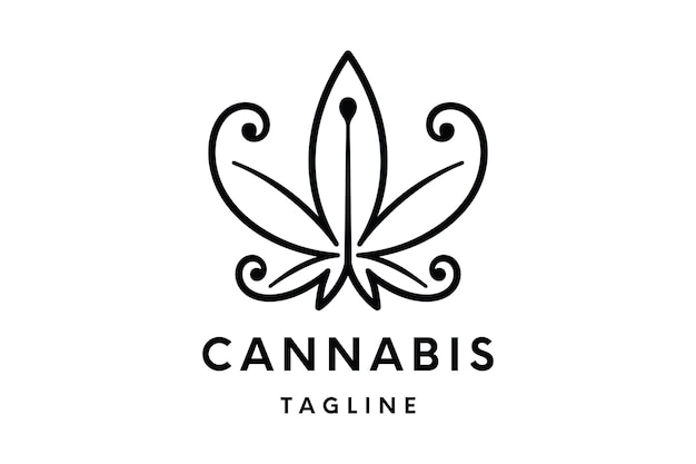 Cannabis logo of hennep logo vector sjabloon