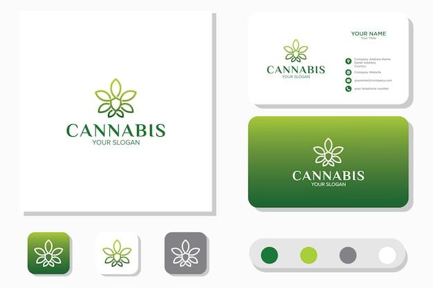 Cannabis logo ontwerpsjabloon en visitekaartje