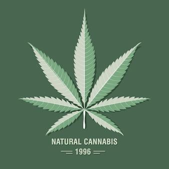 Cannabis (marihuana) blad in platte vintage stijl.