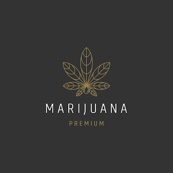 Cannabis marihuana hennep blad logo ontwerpsjabloon