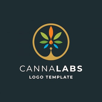 Cannabis met drop oil modern logo