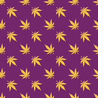 Cannabis naadloos patroon gele hennepbladeren op een paarse achtergrond