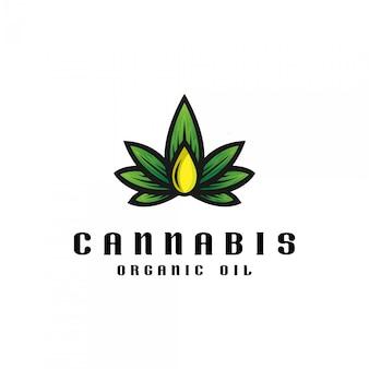 Cannabis olie logo sjabloon.