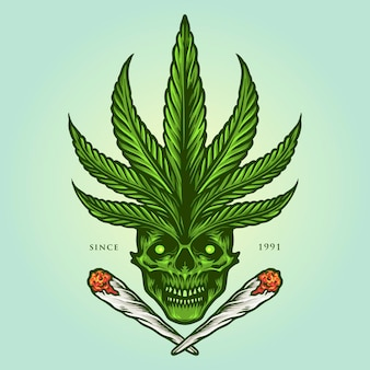 Cannabis skull joint weed smoke-illustraties