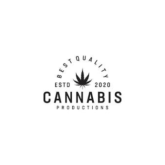 Cannabis vintage thema logo ontwerp