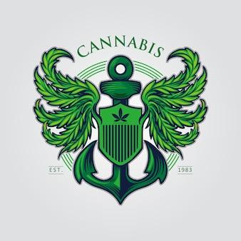 Cannabis wing mascot-logo met ankerillustraties