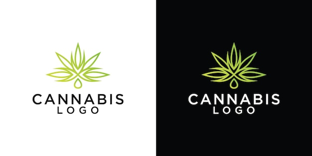 Cannabisblad logo ontwerpsjabloon