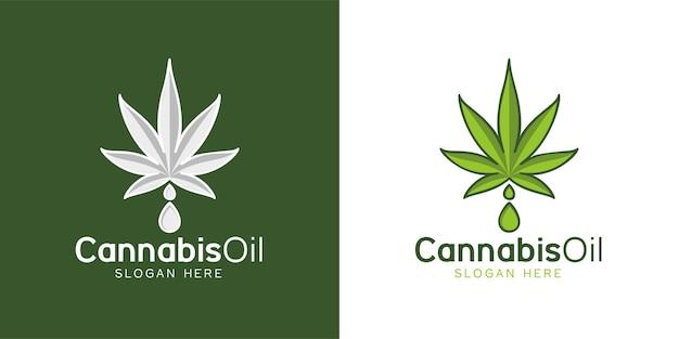 Cannabisblad marihuana en druppel water logo-ontwerp