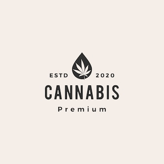 Cannabisolie hipster vintage logo pictogram illustratie