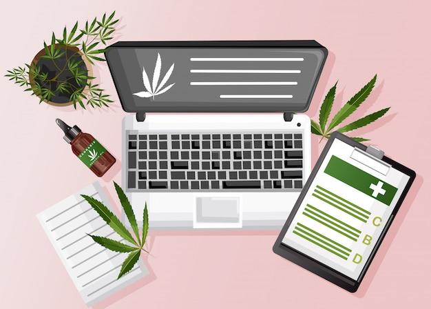 Cannabissamenstelling met biologische cbd-olie, papierklembord en marihuanasite op laptop