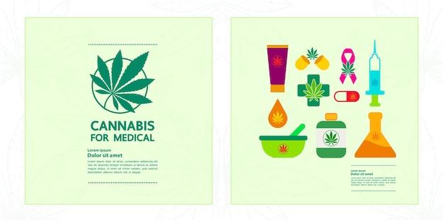 Cannabisvoordelen voor medische en gezondheidsvectorillustratie