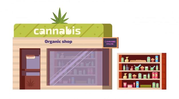 Cannabiswinkel, marihuanaproducten in biologische winkel