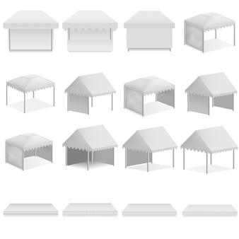 Canopy shed overhang luifel mockup set. realistische illustratie van 16 overkappingsmodellen voor luifelsoverhangende luifels voor het web