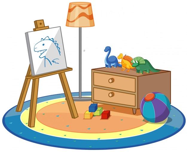 Canvas en veel speelgoed op het tapijt
