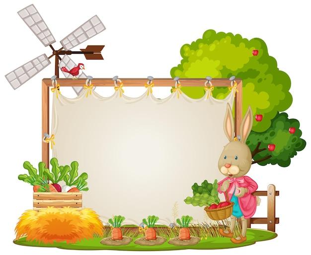 Canvas frame sjabloon in de tuin scène geïsoleerd op een witte achtergrond