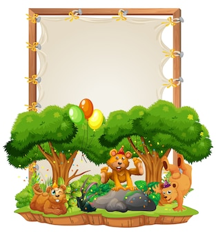 Canvas houten frame sjabloon met beren in feestthema geïsoleerd