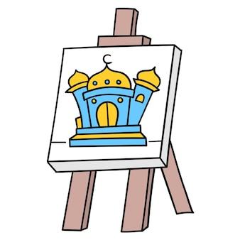 Canvas schilderij met afbeeldingen van moskeeën waar de islamitische eredienst. kartonnen emoticon. doodle pictogram tekening, vectorillustratie