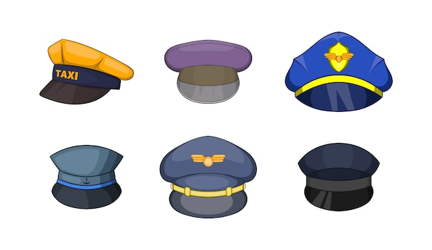 Cap-element ingesteld. cartoon set cap vector-elementen