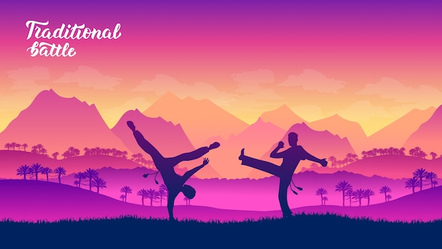 Capoeira krijgers vechtsporten van verschillende landen van de wereld
