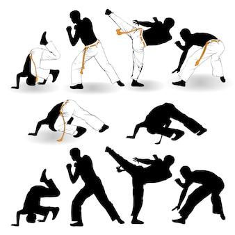 Capoeira-strijders op een witte achtergrond
