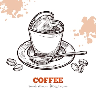 Cappuccino in kop in vorm van hartschets