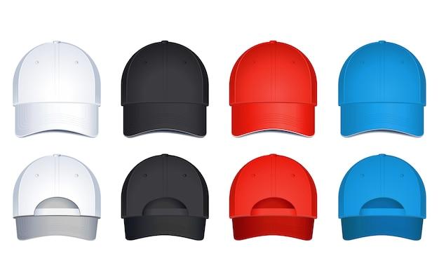 Caps, op een witte achtergrond. achter- en vooraanzicht
