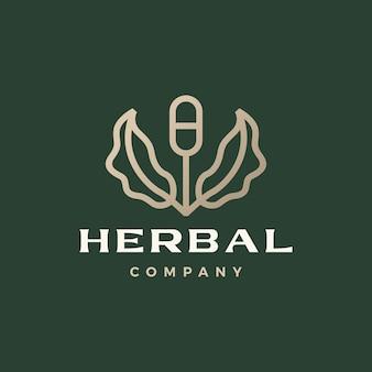 Capsule kruidengeneeskunde medische blad boom spruit logo vector pictogram illustratie