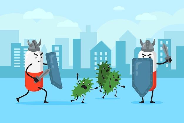 Capsulekarakters die de stad beschermen tegen virussen