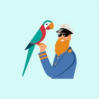 Captain parrot sailor