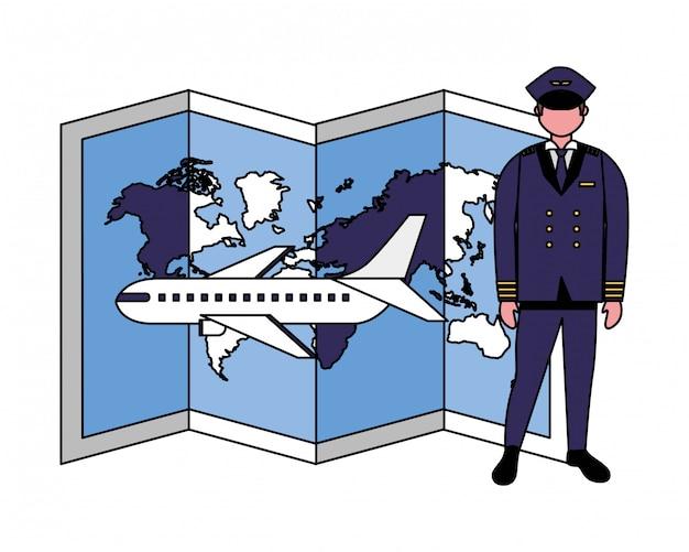 Captain piloot vliegtuig kaart wereld