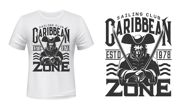 Captain pirate t-shirt print, zeilclub