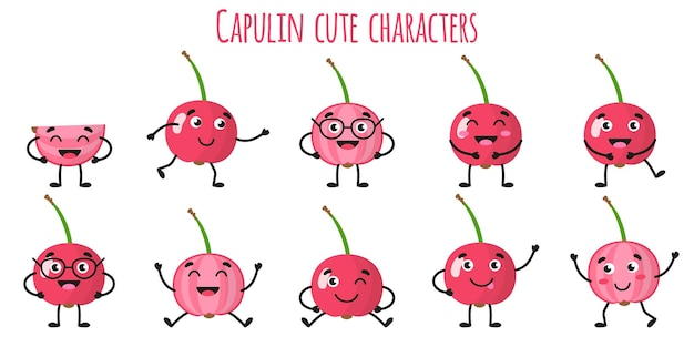 Capulin fruit schattige grappige vrolijke karakters met verschillende poses en emoties. natuurlijke vitamine antioxidant detox voedsel collectie. cartoon geïsoleerde illustratie.